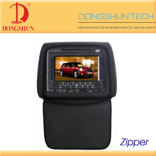 Car headrest 7 inch dvd with zipper cover