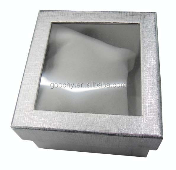 Silver paper watch packaging box with a PVC window and a velvet pillow inside GC01-ZH-002
