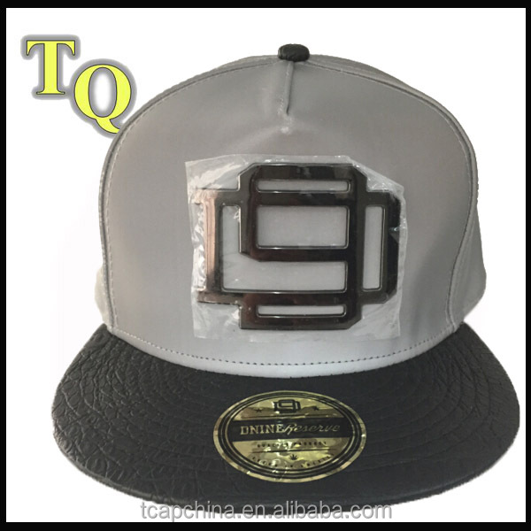 5panel reflecting black leather brim strap back hat with custom metal plate