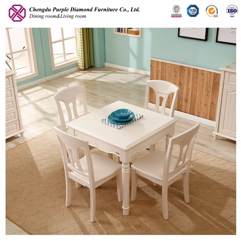 2017 simple design dinning set wooden square dining table