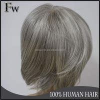 Fast shipping in 3workdays brazilian human hair short style grey hair wig