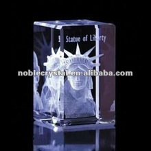 3D Laser Engraved Crystal Statue of Liberty Crystal Building Model