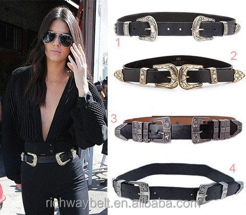 Wholesale thick double buckles fashion lady belt black wide western black belt