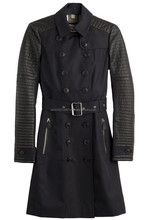 WOMENS GOTHIC BUTTON STYLE COTTON LONG COAT WITH PVC BLACK COLOR