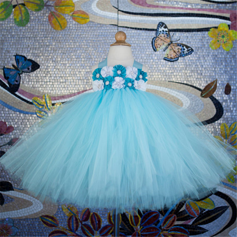 Blu Tutu Bambini Fancy Abiti Da Sposa Abito da sposa Ragazze Puffy Party Dress