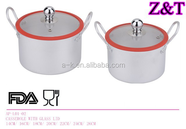 ALUMINUM HANDLE CASSEROLE WITH SILICONE COATED GLASS LID