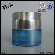 hot products 50g high quality light blue cosmetic container jar silver aluminum screw lid cosmetic glass jar for skin care cream