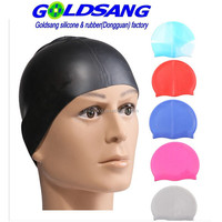 Pure color silicone swimming cap for Adults Logo accepted