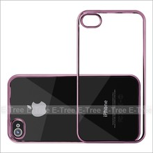 Shockproof Tpu Chrome Electroplate Silicon Case For Apple iPhone 4 Clear Cover Case