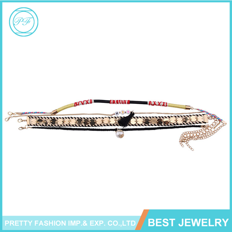 Latest Design Fashion Jewelry Colorful Multi-Layer Gold Tassel Pearl Charm Necklace For Ladies