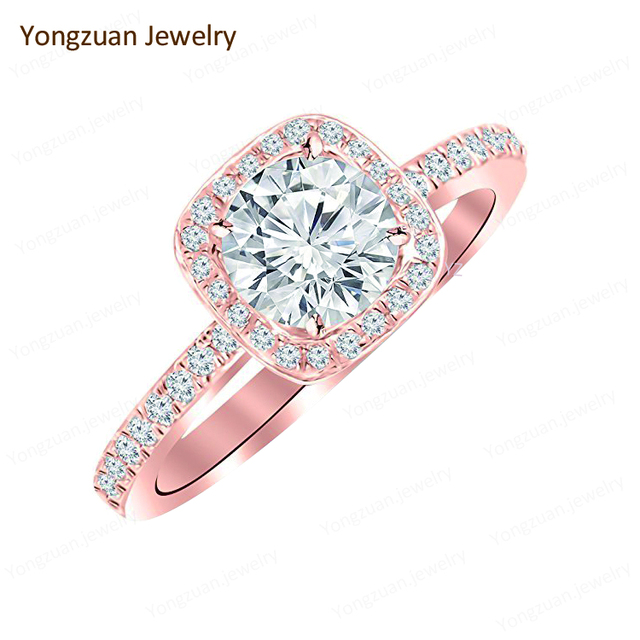 New Gold Ring Models 1 Carat 18K Rose Gold Classic Style Cushion Shape Diamond Engagement Ring with a 0.75 Carat H Color Center