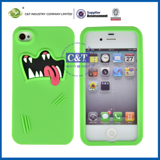 C&T cute silicone case for apple iphone 4 4s