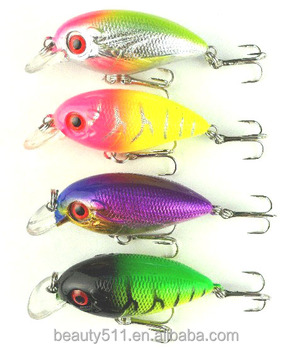 HOT sale 3D Eye Artificial Bait fishing lure Lures 8# Hook 6cm 7.7g crank Fishing Lure Hard Artificial Swim Baits 4 colour