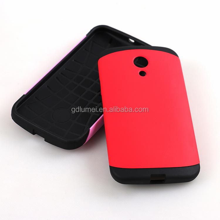 Hybrid dual layers shockproof hard PC plastic back cover and felxible TPU silicone bumper case for Motorola G2
