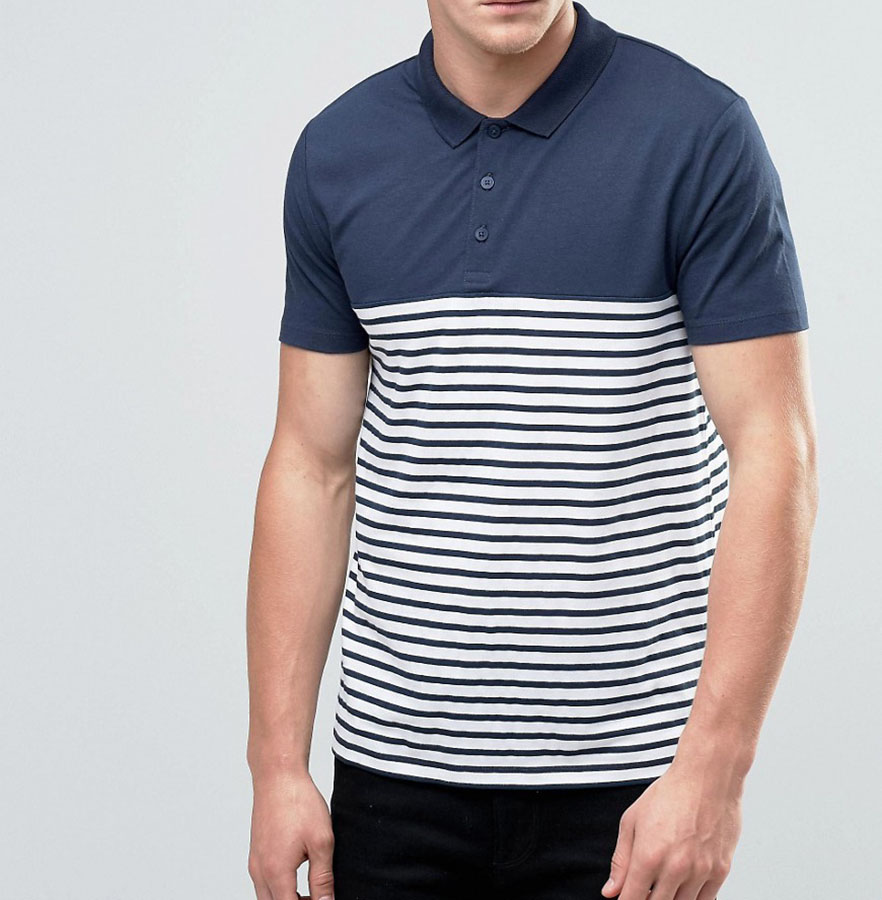 High Quality Custom Cotton Navy Plain Mens Polo Collar Striped T Shirt Cheap