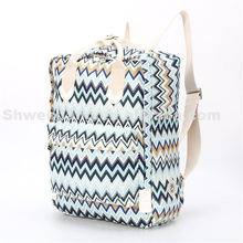 Wholesale Striped Lightweight Women blue Canvas Backpack For <strong>School</strong>