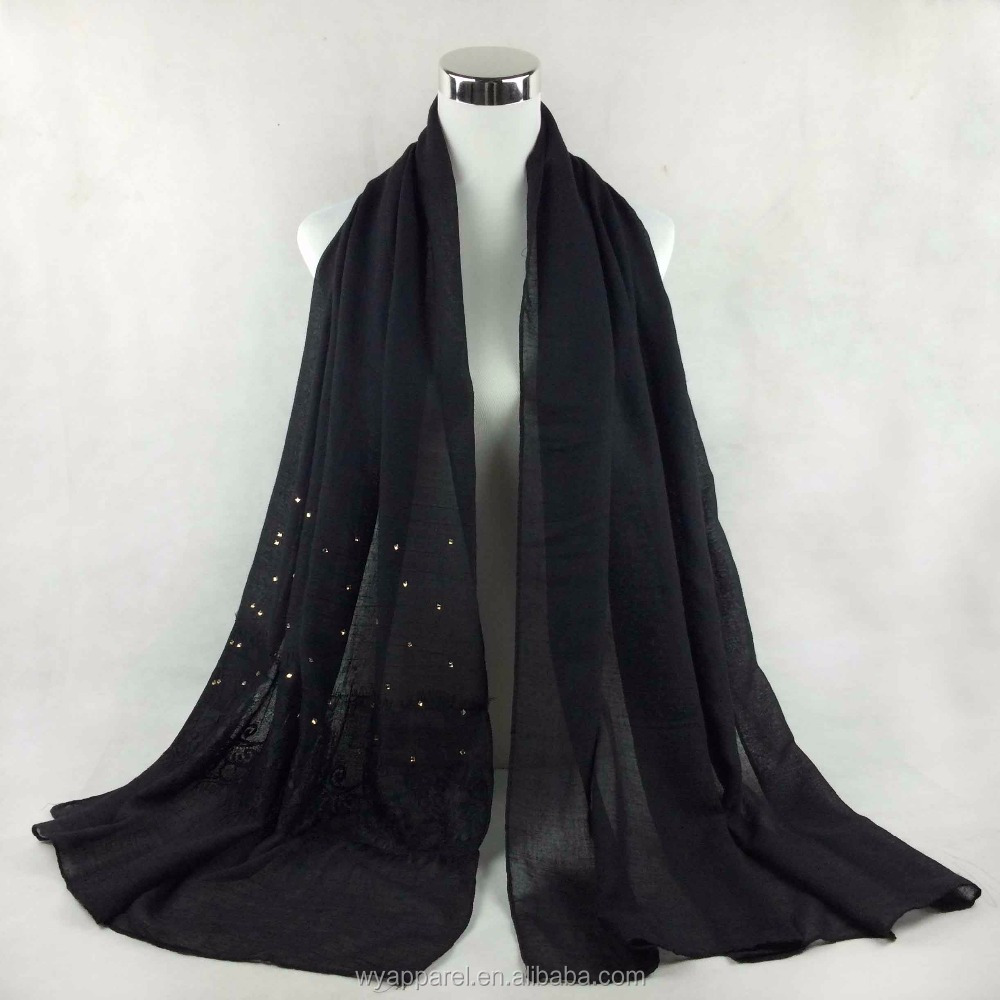 wholesale new design black lace arab hijab custom color islamic beaded muslim girl hijab style with lace