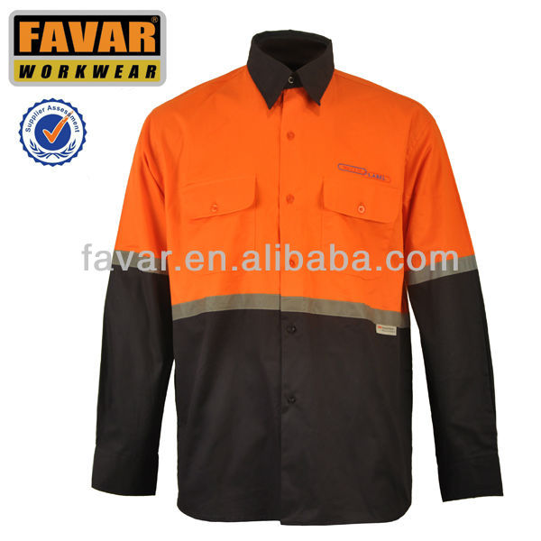 mens contrast color hi vis cotton long sleeve shirt with reflective tape workwear garment