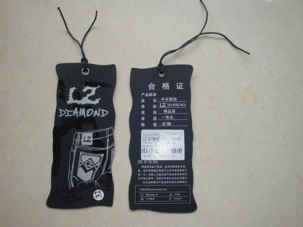 Factory cheap custom printed recycled cardboard paper hang tags for clothes