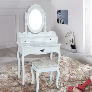 White Makeup Wooden Dressing Table With Mirror And Stool