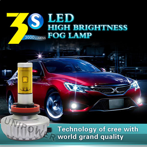 2015 Newest car fog light, DC12-24V five colors 2200LM/bulb h8 led fog light , CE RHOS approval