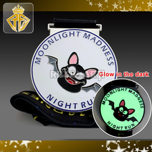 Custom Glow in the Dark Bat Medal for Night Run