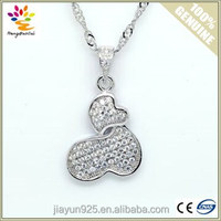 Hot Sale Micro Pave cz Silver Pendant Love Heart 925 Sterling Silver Pendant Necklace
