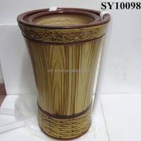 Ceramic wooden color plant pot