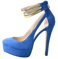 fashion ladies sexy blue leather hollow bandage high heels 6 inch