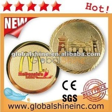 high quality 35mm brass angel coin with colorful glass / souvenir gifts metal coin / commemorative copper & gold coin