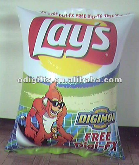 inflatable chip packet pillow PVC air chip bag pillow