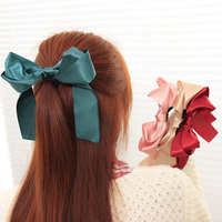 Women Hair Styling Tool Satin Ribbon Bow Hair Bands Rope Scrunchie Ponytail Holder 6 Colors Hot Headwear Hair Band Accessories