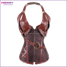 In Stock Shapers Halter Neck Brown Steampunk Corsetto Gothic Corset
