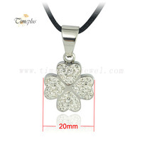 2018 new summer CZ crystal four leaf clover flower necklace women silver stainless steel pendant gifts