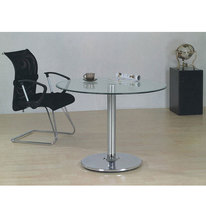Small Office Tempered Round Glass Conference Tables