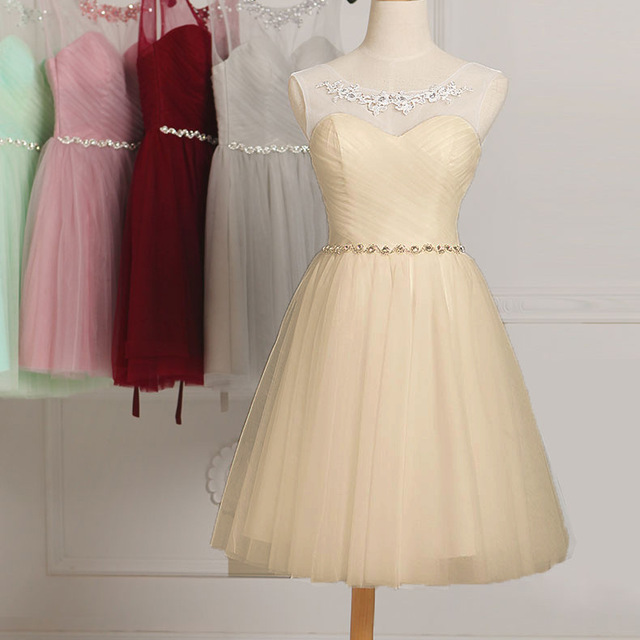 New Collection Short Cheap Beaded Chiffon Bridesmaid Dress