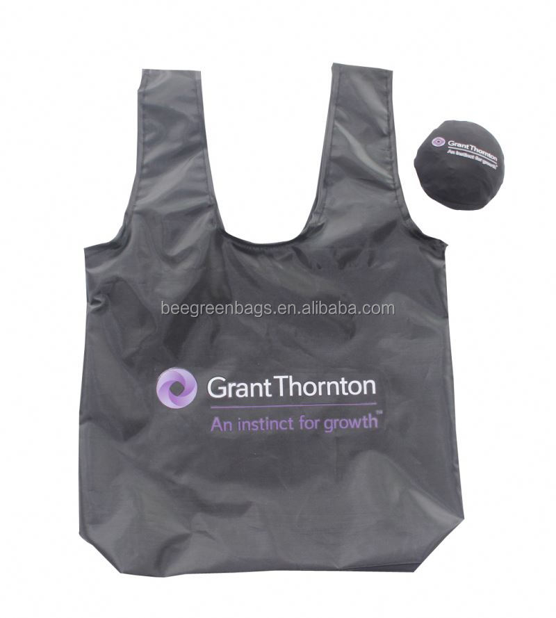 Personalized heat transfer printing folding polyester tote bag with elastic small pouch