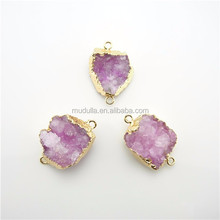 DP213 Rose Druzy Druzzy Drusy Quartz Connector with Electroplated Gold Edge