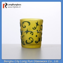 LongRun beautiful handicraft frosted shot glass cup with flocking printing