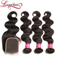 Wholesale Hair Vendors 100% Virgin Hair Bundles Free Sample Brazilian Virgin Human Hair Bundles With Lace Closure