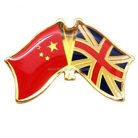 promotional custom metal GBR & CHN flag shape badge