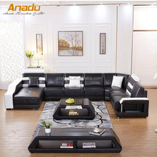 Latest living room furniture design of leather sectional U shape arabic majlis sofa