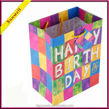 Happy everyday birthday cheap cute package& gift paper bag with printing packaging