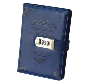 custom pu leather travel journal diary personal writing notebooks daily business planner notepad with combination lock