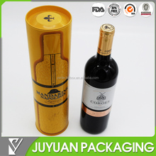 cylinder round tin wine bottle box for packaging
