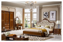 Brown color solid wood carving Bedroom furniture