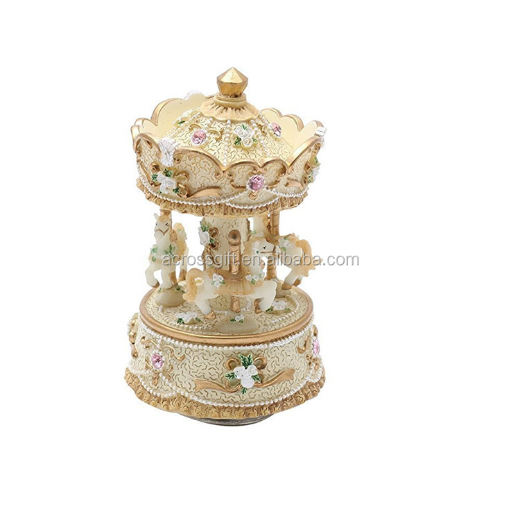 customized handmade painted revolving animals carousel horse music box