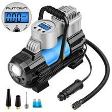 12V DC Portable Air Compressor Pump, 150 PSI Auto Digital Tire Inflator with Extra Nozzle Adaptors and Fuse for Car Bike Tires a