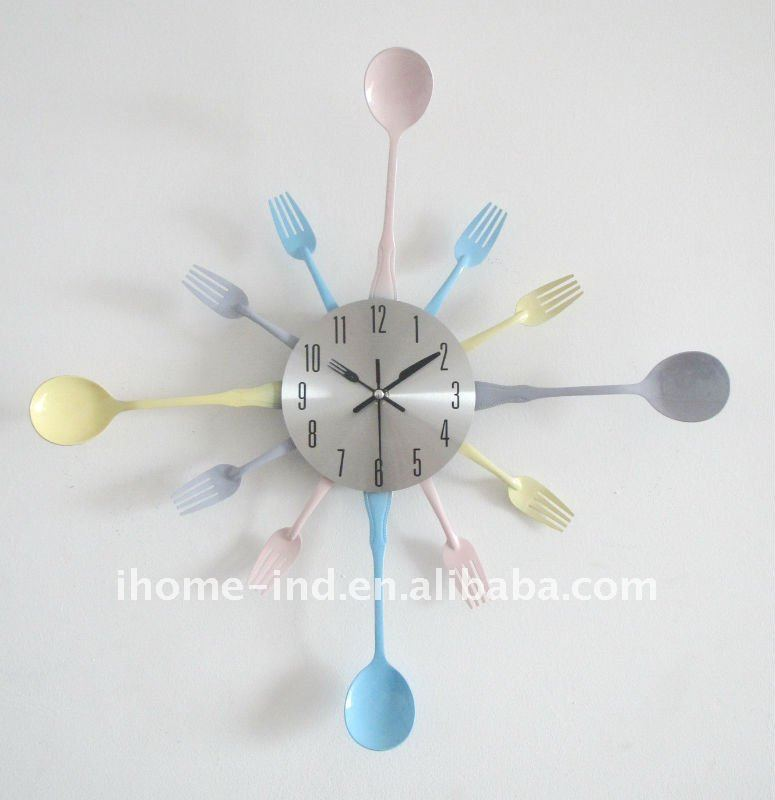 kitchen clock with knife and fork for decoration