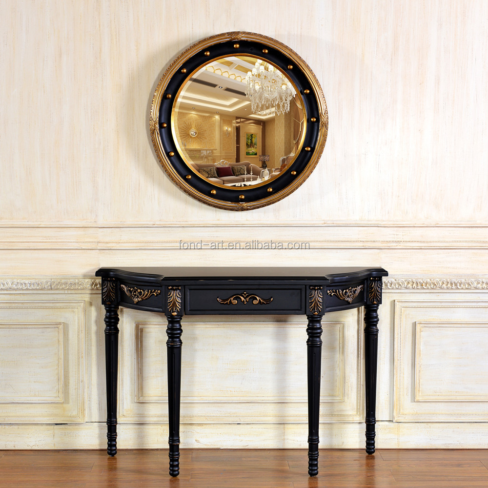 C40 Antique Semi-oval antique Console Table with mirror